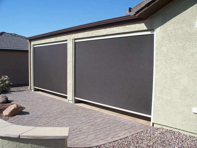 Sun control security products by day star screens for Outdoor roll up privacy screens