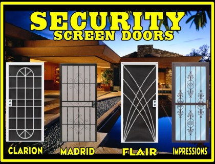 security screen door, double security door, screen door, patio door,  swinging door, steel security door - Sun Control & Security Products By Day Star Screens - Security
